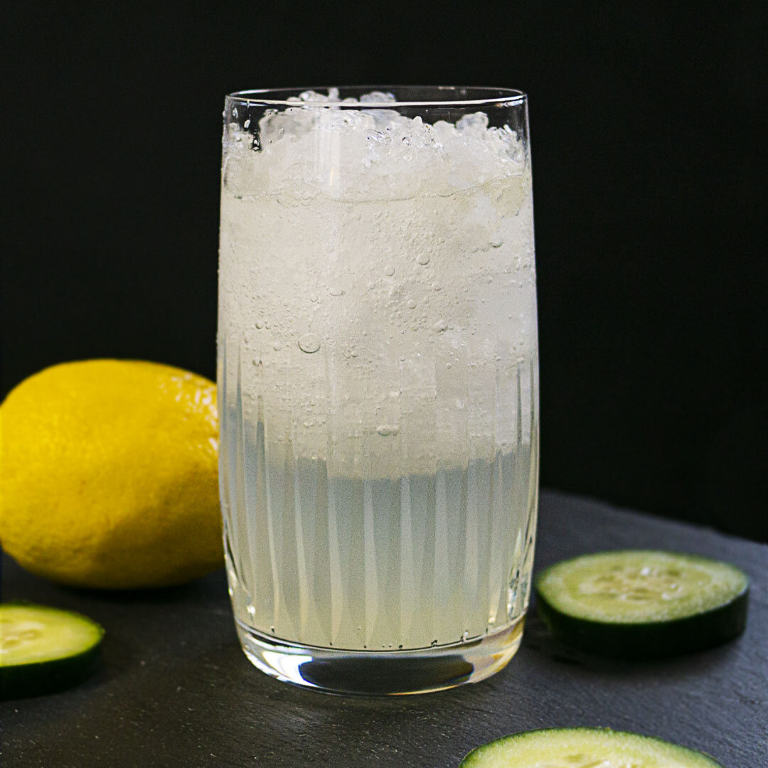 Canadian Gin with Cucumber lemonade cocktail and cucumber and lemon garnish