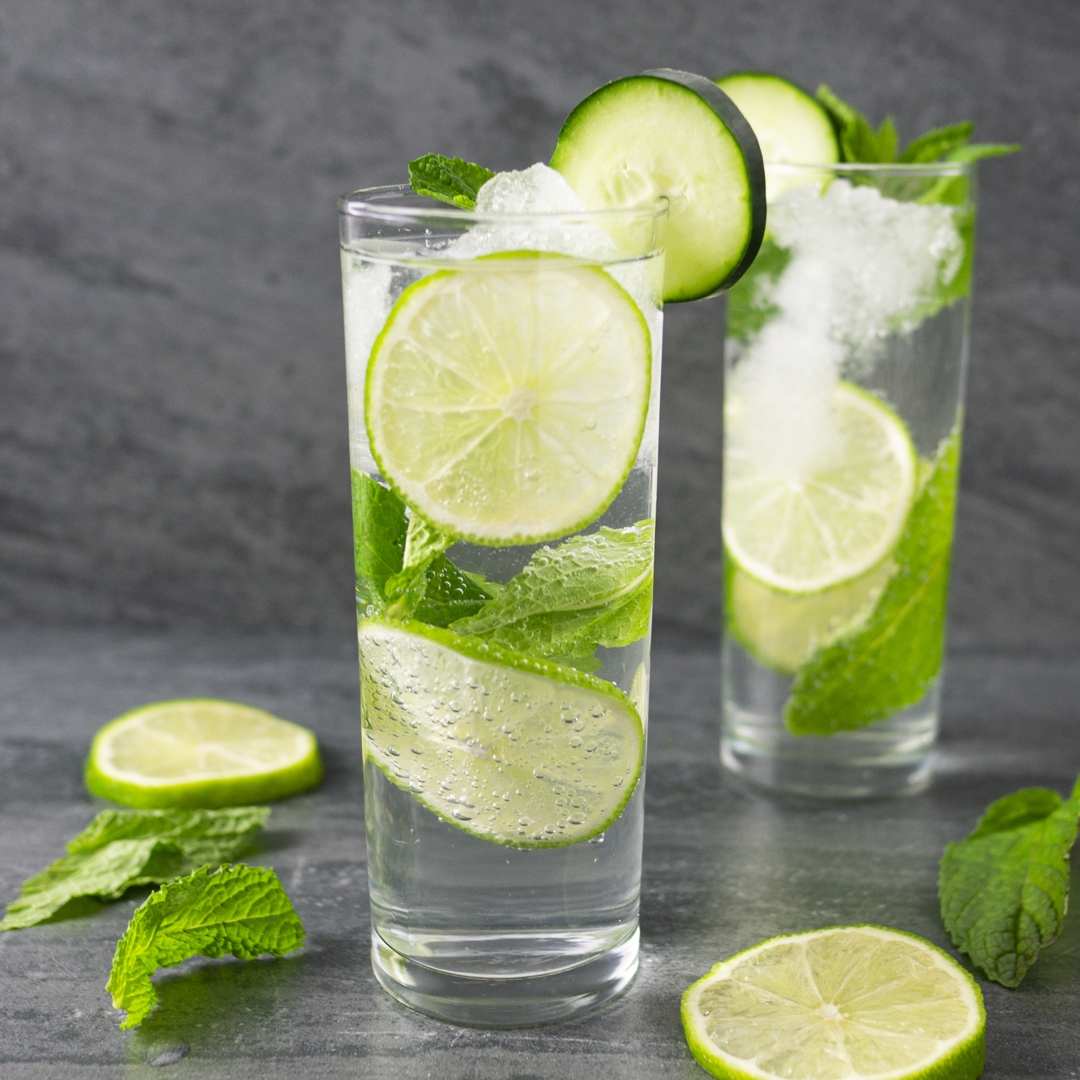 Canadian Gin with Cucumber Mojito cocktail and lime and mint garnish