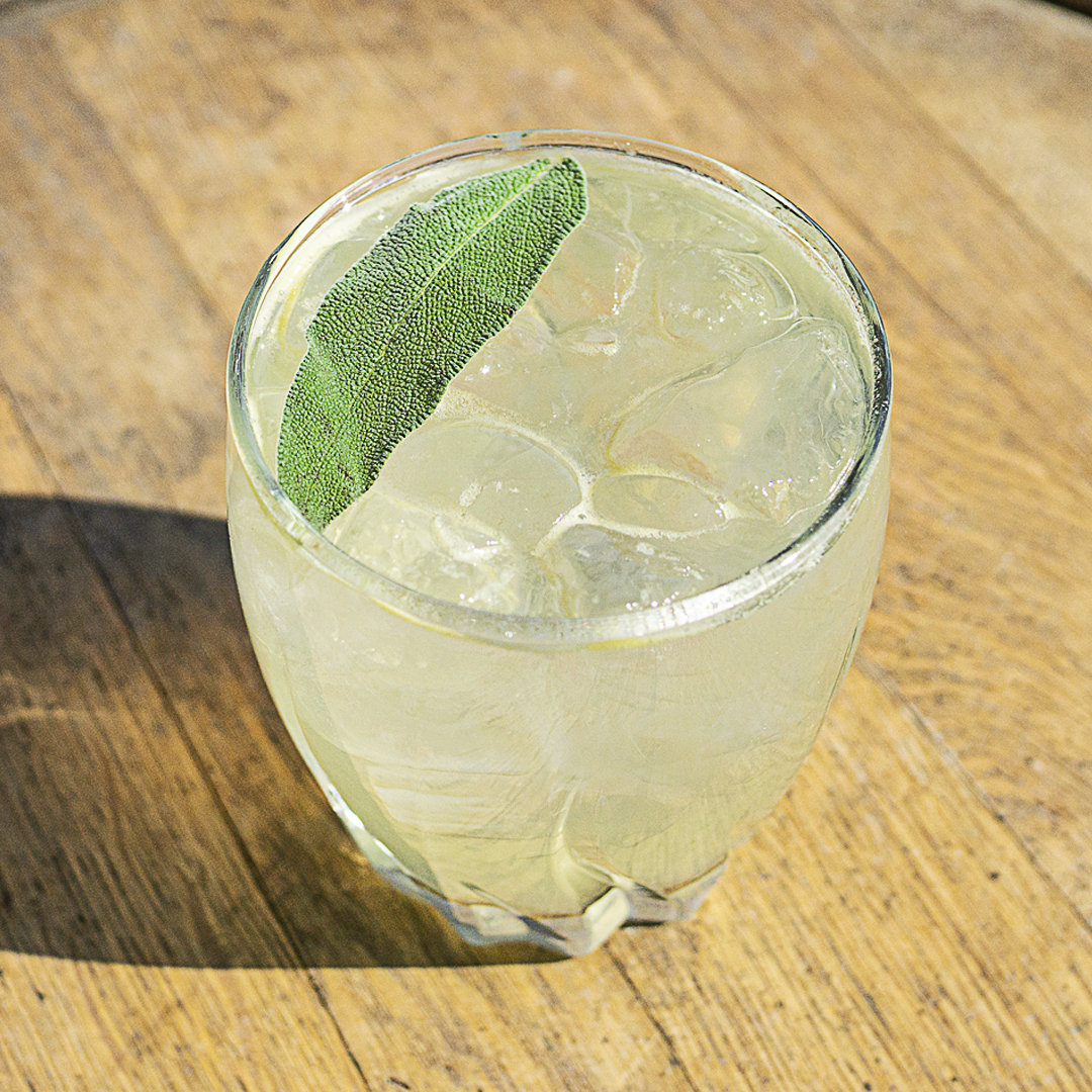 Canadian Gin with English Garden Cocktail with sage garnish